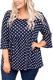 OHDREAM Womens Tunic Tops Plus Size Polka Dot Shirts Bell Ruffle 3/4 Sleeve Babydoll Peplum Casual Blouse