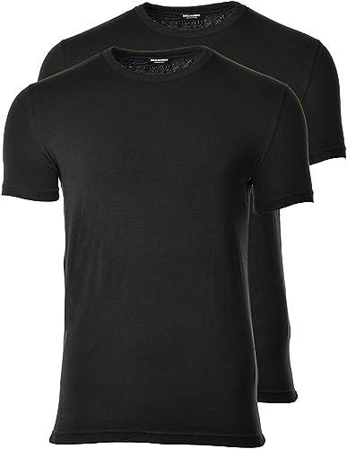 Dsquarouge2 T-Shirt 2-Pack Hommes, col Rond, Demi Manches, Coton Stretch, Paquet Double Extensible
