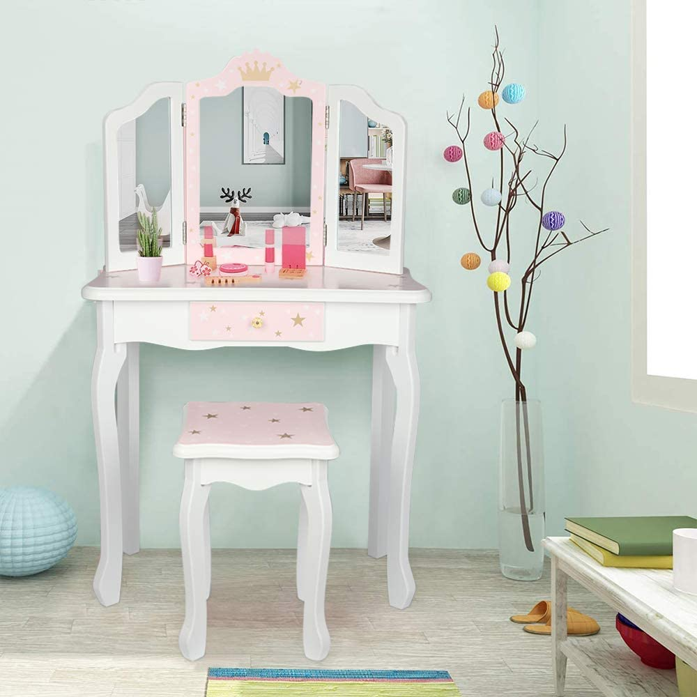 Free shipping on posting reviews Goujxcy Kids Vanity Table Stool Mirror Three-fold Set Makeup outlet