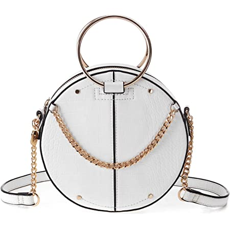 JOSEKO Umhängetasche, Rivet Round Ladies Umhängetasche Cool Girl Bag Dunkelblau (Type2, Weiß)