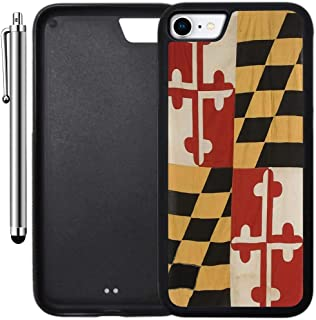 Custom Case Compatible with iPhone 8 (4.7 inch) (Vintage Rustic Maryland State Flag) Edge-to-Edge Rubber Black Cover Ultra Slim | Lightweight | Includes Stylus Pen by Innosub