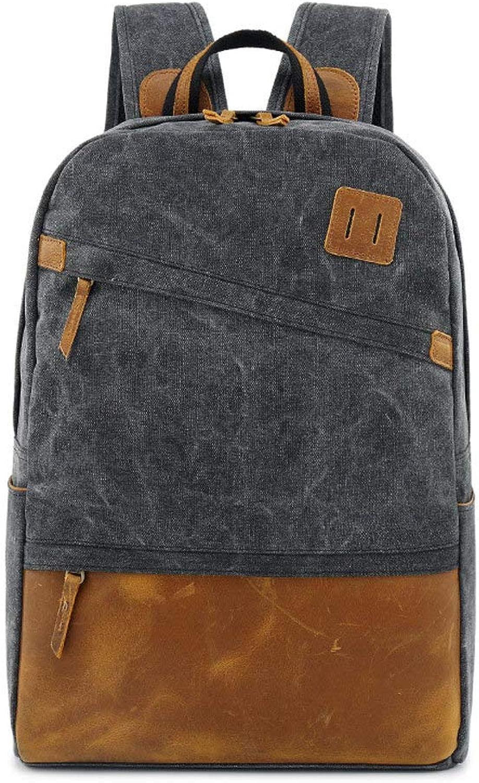 DRENECO Laptop Backpack Unisex Casual Vintage Leather Backpack Canvas Backpack Satchel Hiking Backpack Travel Outdoor Large Backpack Man Women Backpack College Business Commute