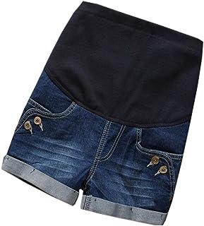 Saoye Fashion Damen Mode Casual Kurze Jeans Umstandsshorts Elegante Trendigen Blumen Kleidung Umstandshose Mit Bauchband Verstellbar Schwangerschaftshose