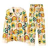 DFDLNL Pijamas para Mujer Conjuntos de Pijamas de Panda Manga Larga Solapa Pantalones de algodón Puro Puro Pijamas de Mujer Ropa de Dormir L