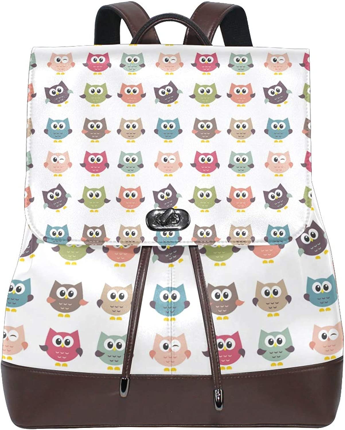 Leather Owls On White Background Backpack Daypack Bag Women