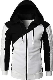 Halfword Men's Contrast Color Zip Up Hoodies Sweatshirt Fleece Long Sleeve Casual Hoody Pullover Sport Outwear Sweater Hoo...