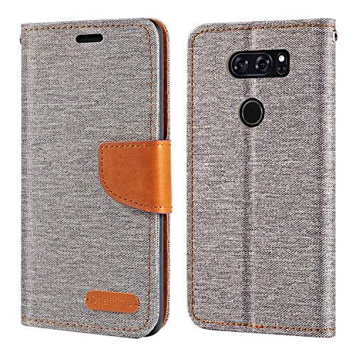 Capa para LG V30, capa carteira de couro Oxford com capa traseira magnética de TPU macio para LG V30 Plus