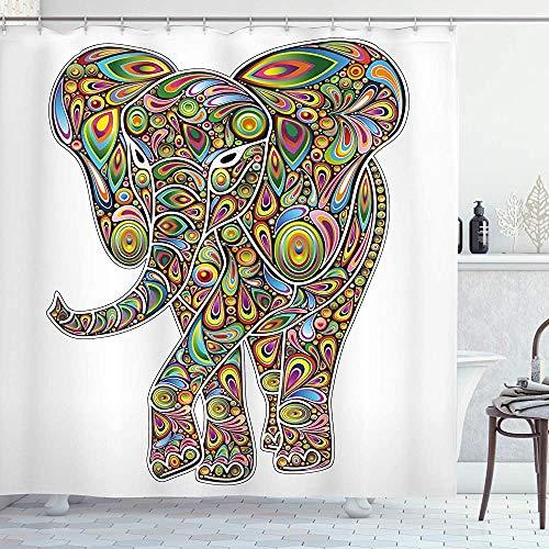 ASDAH Psychedelische Douche Gordijn Grote Oosterse Olifant Trippy Patroon Boho Art Savannah Illustratie Doek Stof Badkamer Decor Set met Haken Regenboog Kleur 66 * 72in