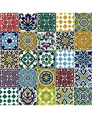Cerames, Marokkaanse keramische tegels Pazzo- 50 oosterse Tunesische decoratieve tegels 10 x 10 cm voor de badkamer, de keuken, onder de trap. Gekleurde decoratieve tegels