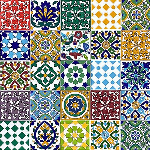 Cerames, Azulejos de cerámica marroquí Pazzo 50 azulejos decorativos tunecinos de 10 x 10 cm para baño, cocina, bajo escaleras