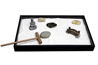 Nature's Mark, Mini Meditation Zen Garden, 7 x 6 Inches Hexagon with Succulent, Figures and Natural River Rocks (8L x 5W)