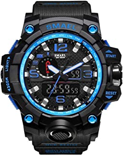 SMAEL Boy's Military Watch, Big Face Sports Watch Army Style Multifunctional Wrist Watch for Youth - skyblue