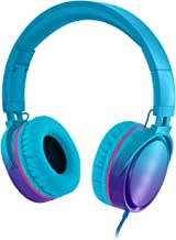 RockPapa Over Ear Stereo Foldabe Headphones Adjustable, Noise Isolating, Heavy Deep Bass, Folding Headsets with Microphone 3.5mm for Smart Phones Tablets Computers MP3/4 DVD Gradient Blue
