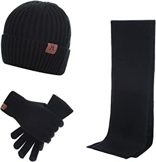 Warm Winter Men 3 PCS Knitted Set Knit Hat + Long Scarf + Touch Screen Gloves Gift Set