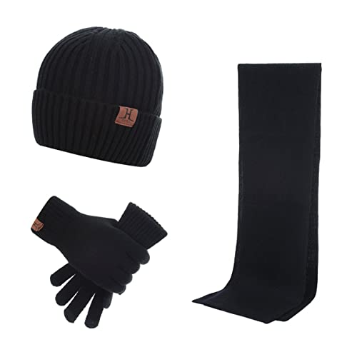 40165710a78f4 Lanzom Warm Winter Men 3 PCS Knitted Set Knit Hat + Long Scarf + Touch  Screen