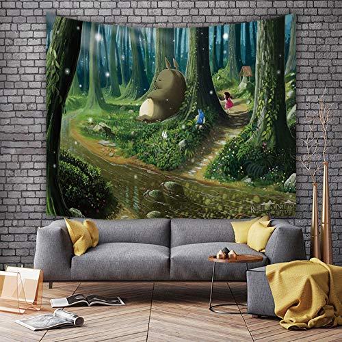shuimanjinshan Tapiz de Anime, Tela Colgante de Totoro de Dibujos Animados, Tela de Fondo para Dormitorio, decoración de Dormitorio, Tapiz, Tela de Pared 150(H) X230(An) Cm