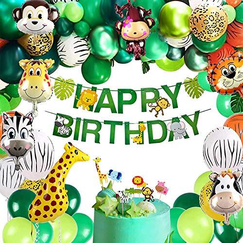 Tacobear Selva Cumpleaños Decoración con Globos Animales Helio Pancarta Happy Birthday Cake Topper Globo de Látex Hojas de Palma Selva Safari Decoracion Fiesta Cumpleaños para Infantil Niño