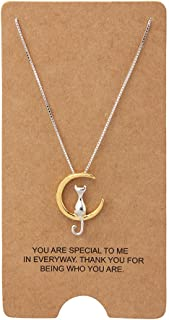 """Jewelry S925 Sterling Silver Cat On Moon Pendant Necklace 18"""" (Gold)"""