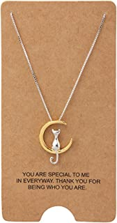 Jewelry S925 Sterling Silver Cat On Moon Pendant Necklace 18""
