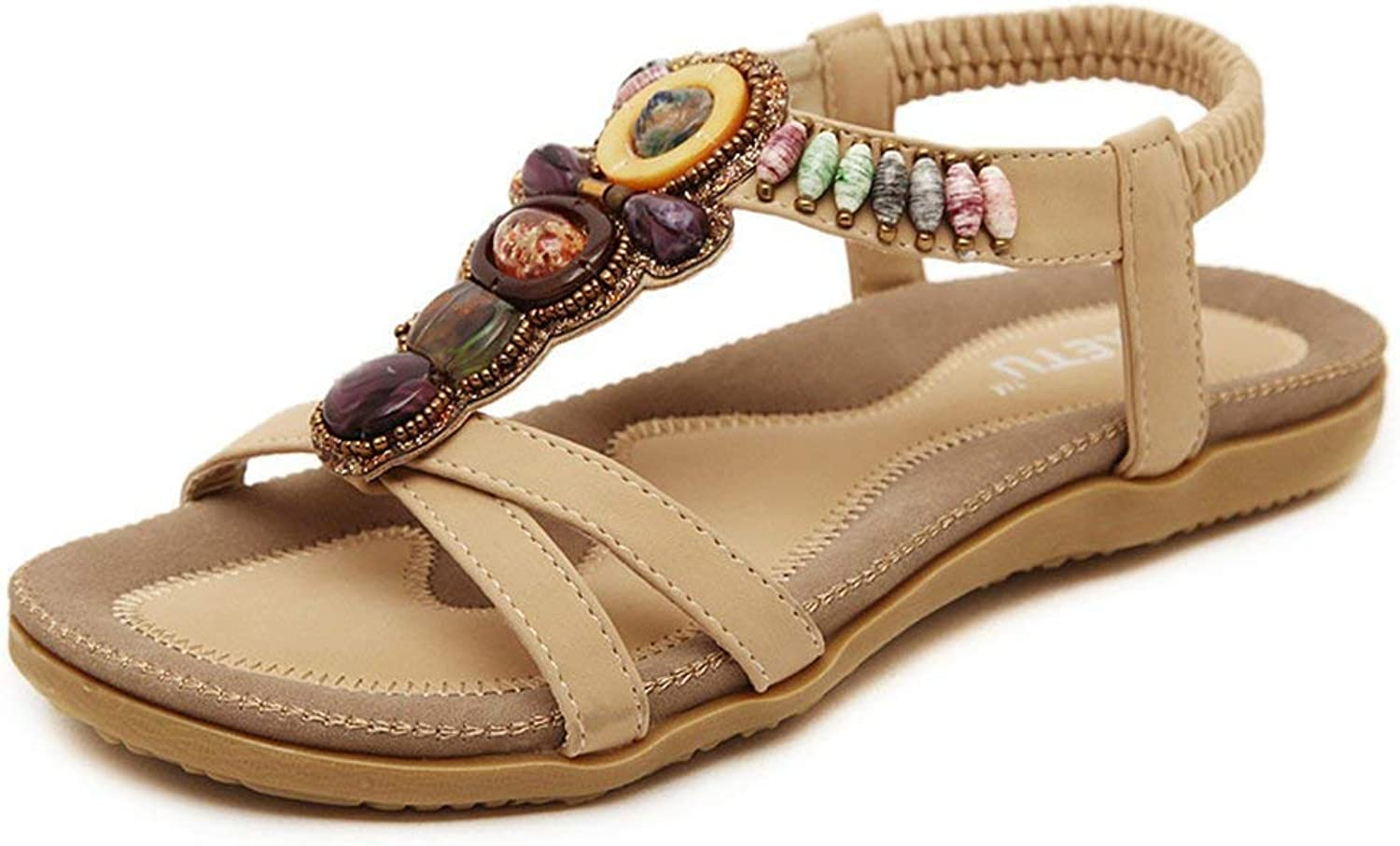 Gedigits Women's Bohemian Beaded Casual Beach Flats Elastic Ankle Strap Gladiator Sandals Beige 10 M US