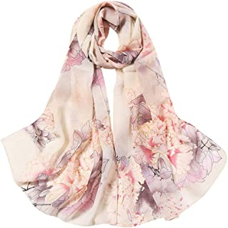 NJGV Women Fashion Flower Print Long Soft Wrap Scarf Simulation Silk Shawl Scarves
