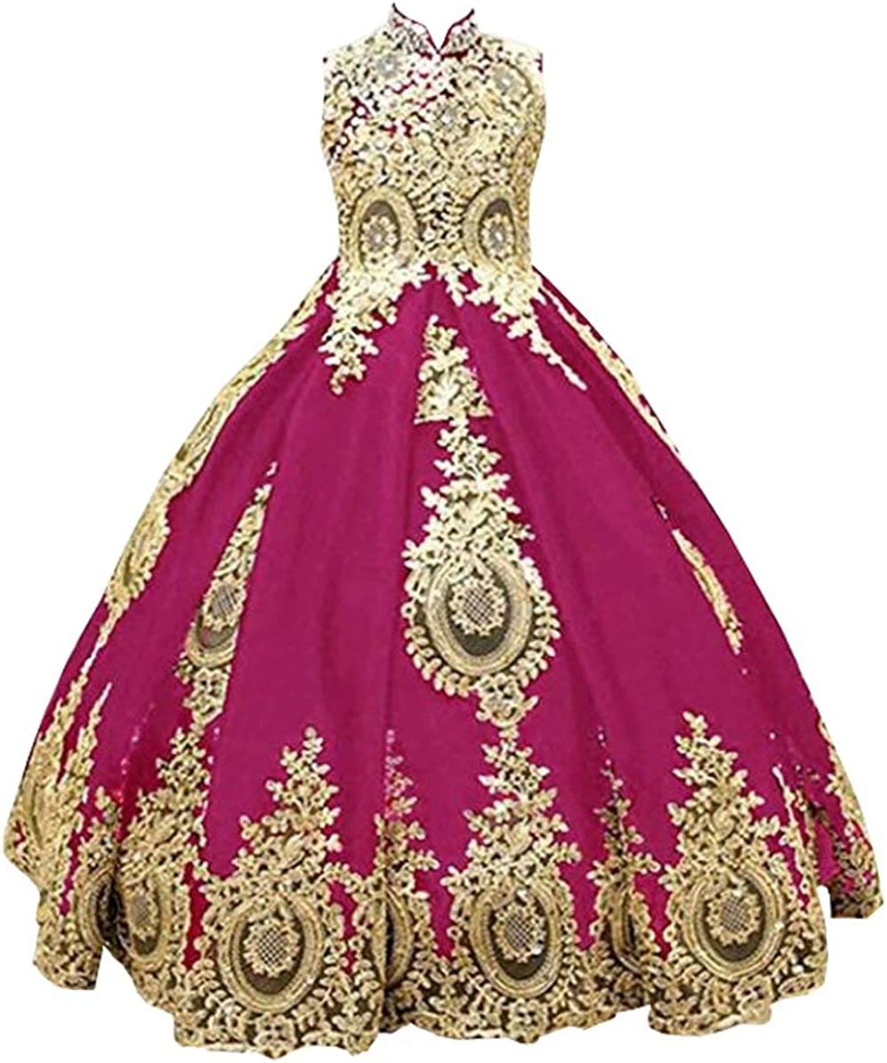High Neck Special Occasion Dresses for Girls Gold Appliques Crystals Cupcake Girl Pageant Dress