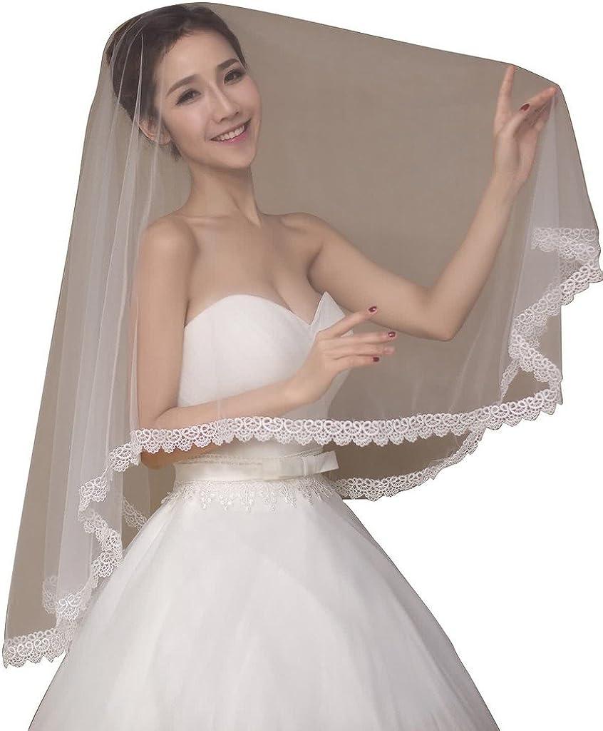 JoyVany Lace Sequins Trim Long Wedding Veil 2018 Cathedral Length Wedding Veil Ivory