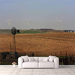 Modern 3D PVC Design Removable Wallpaper for Bedroom Living Room Wind Power Old and New in Rural Iowa Wallpaper Stick and ...
