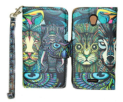 Tribal Animals Design Wallet Leather Case for Alcatel One Touch Pop Astro 5042T with Kickstand