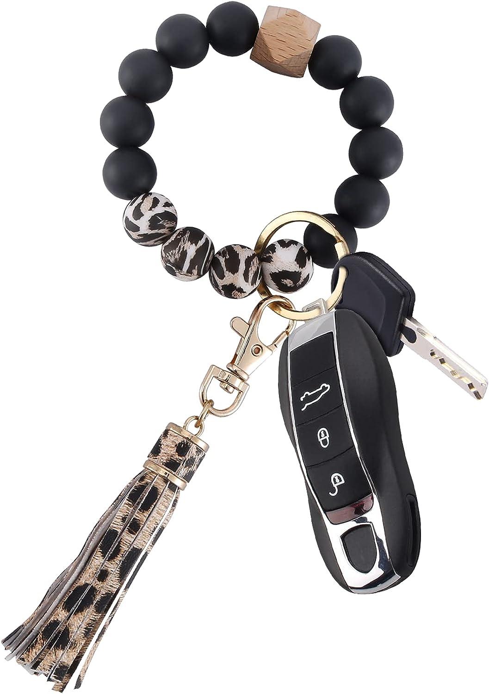 Keychain for Women Wristlet Key rings Bracelet Silicone Beaded Bracelet Portable Car Tassel Key chain