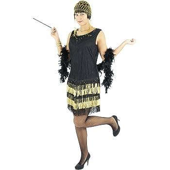 Foxxeo Vestido Negro Dorado de los años 20 con Flecos para Damas ...