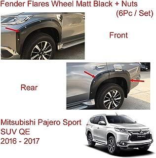Powerwarauto Set Fender Flares Wheel Set Matt Black + Nuts for Mitsubishi Pajero Montero Sport SUV Medium Black Medium Black