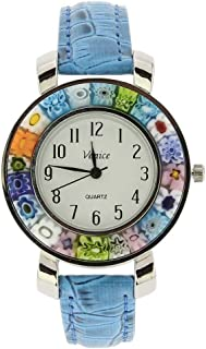 GlassOfVenice Serena Murano Millefiori Watch with Leather Band - Light Blue