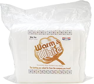 Warm Company Batting CBR-010 Warm & White Cotton Batting (120in x 124in) King Size, Each, None