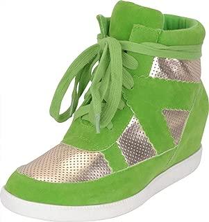 green wedge sneakers