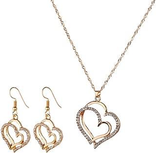 1Set Charm Necklace Earrings Set Heart Pendant Hoop Dangle Jwellery Set for Women Girls