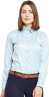 Lamode Ladies Solid Ice Blue Formal Shirt 394