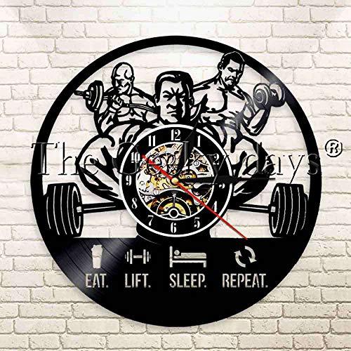 1 Pieza Eat Lift Sleep Repeat Workout Gym Arte de Pared Motivacional Reloj de Pared con Registro de Vinilo Reloj de Pared de Levantamiento de Pesas para Hombres