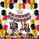 Herefun 50 Piezas Pirata temática Decoraciones Cumpleaños Kit, Pirata Globos Party Fiesta Halloween Decoracion Aluminio Globos Rojos Negros dorado, Cake Topper Banner para niños chico