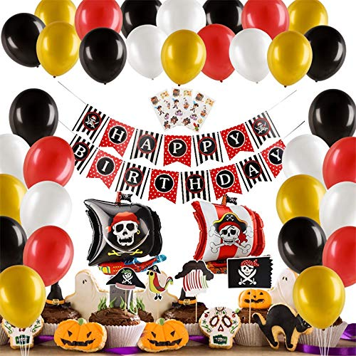 Herefun 50 Piezas Pirata temática Decoraciones Cumpleaños Kit, Pirata Globos Party Fiesta Halloween Decoracion Aluminio Globos Rojos Negros dorado, Cake Topper Banner para niños chico (Negro)