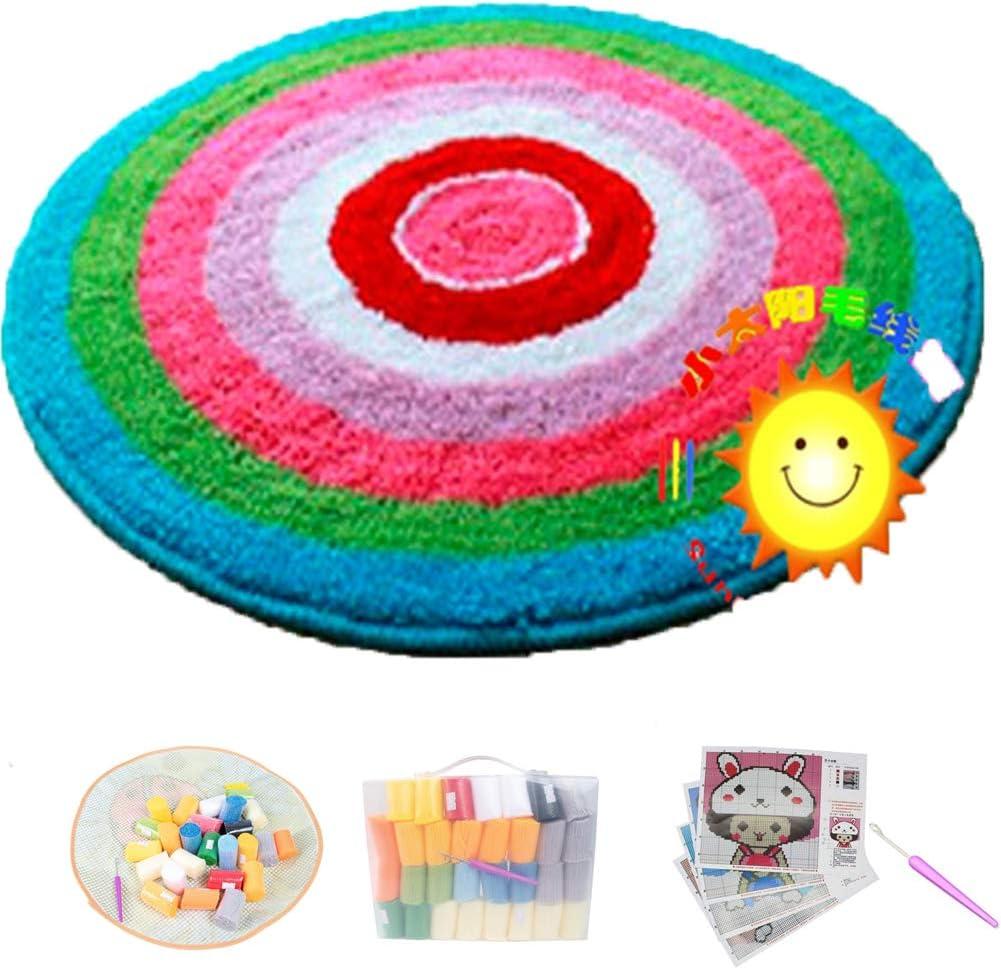 Large shopping Latch Hook Rug Kit Circular Carpet Mat Cushion Under blast sales Rainbow Han