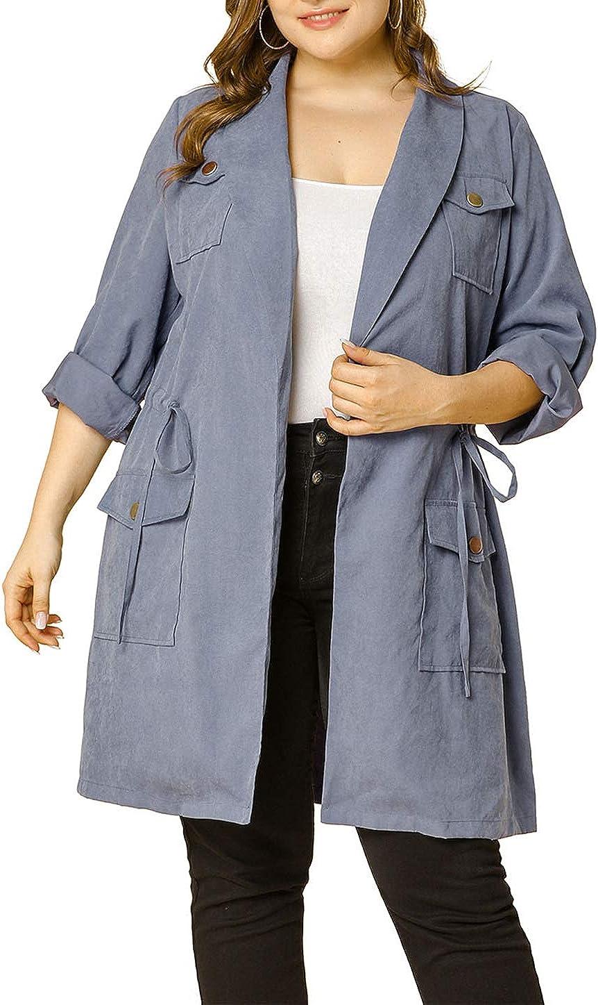 Agnes Orinda Women's Plus Size Lightweight Jacket Drawstring Casual Jackets
