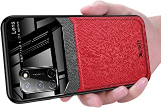 OPPO A52 Case, Ikwcase Business Slim Litchi Skin Anti-slip TPU Bumper Hybrid Glass Lens Protective Case Cover for OPPO A52...