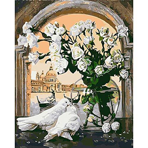 Zhxx Schilderij door cijfers voor volwassenen op canvas vensterbank Vrede Dove Animal Acryllic Bruiloft Decoratie Art Picture Gift 40X50Cm Without Frame