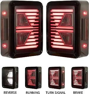Jeep Wrangler Tail Lights LED Liteway - Updated Design Reverse Lights, Turn Signal Lamps, Running Lights for Jeep Wrangler JK 2007-2017, 2 Years Warranty