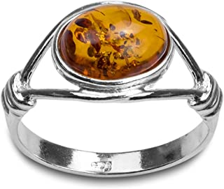 Sterling Silver Amber Oval Stone Classic Ring