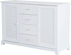 """HOMCOM 47"""" Bathroom Cabinet Buffet Sideboard with Drawers and Shutters - White"""