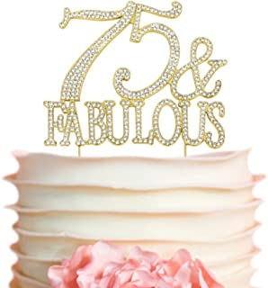 75 & Fabulous GOLD Cake Topper | Premium Sparkly Crystal Rhinestones | 75th Birthday Decoration Ideas | Perfect Keepsake (75&Fab Gold)