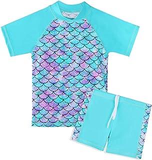 TFJH E 2PCS Girls Swimsuits Short Sleeve Rash Guard Set UV 50+ Sunsuits Size 7-8 Cyan Fish Scale 8A