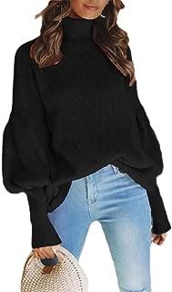 Women's Turtleneck Warm Loose Knitted Long Lantern Sleeve Pullover Jumper Sweater